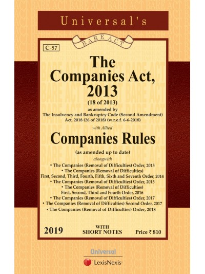 Companies Act, 2013 with allied Companies Rules along with (Removal of Difficulties) Order